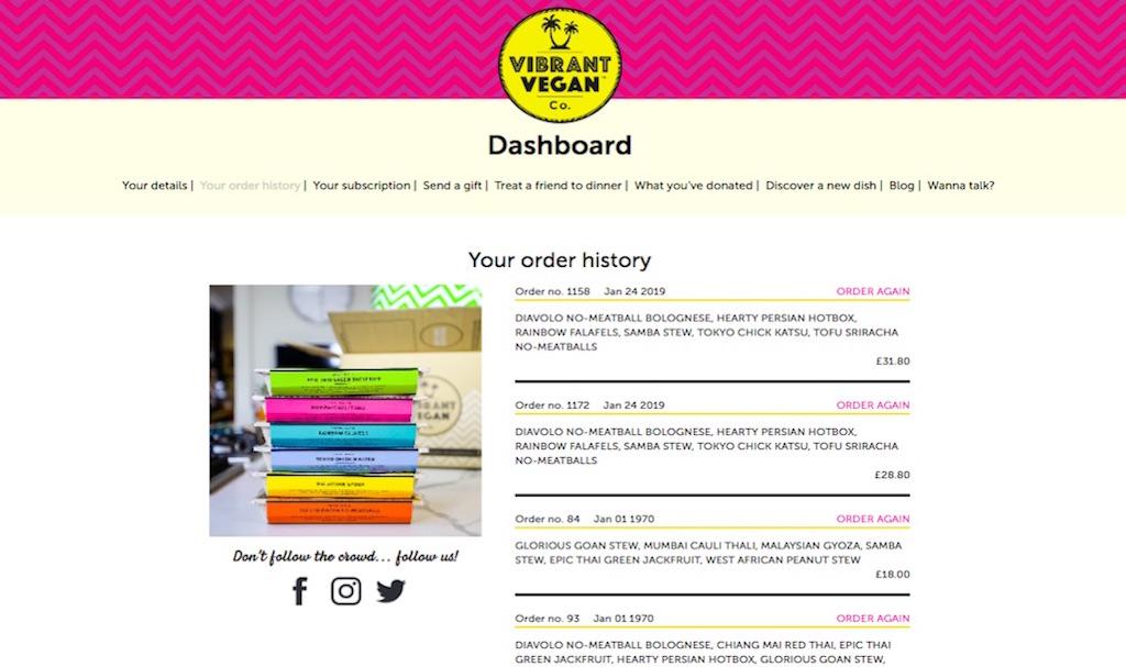 VV Bespoke Dashboard Orders